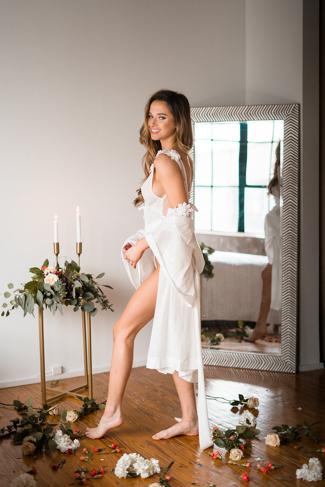 short white robe for bride