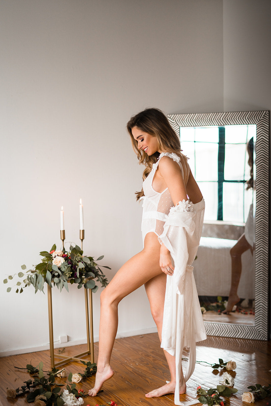 white robe with flowers for wedding