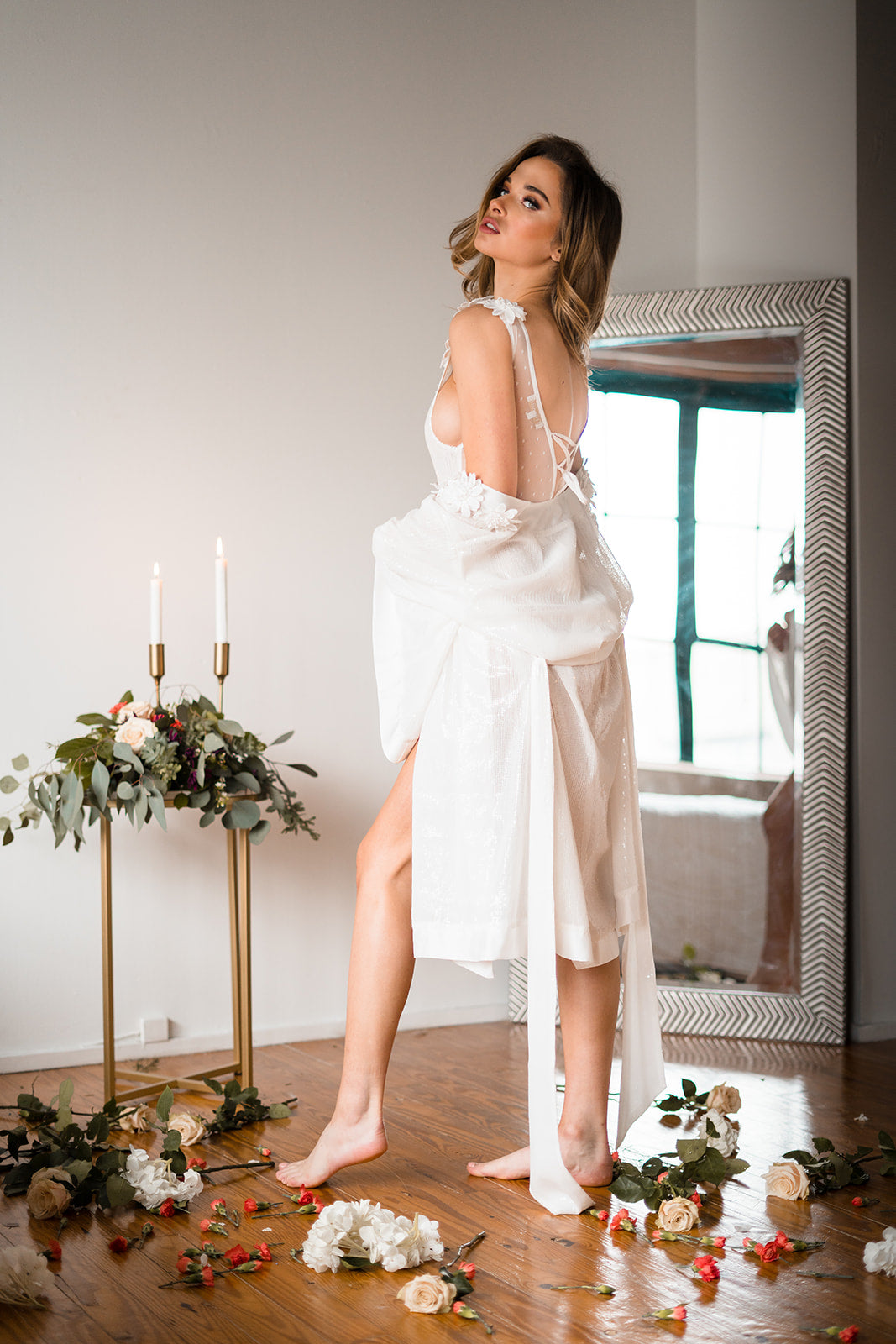 sparkly white robe for bridal lingerie gift
