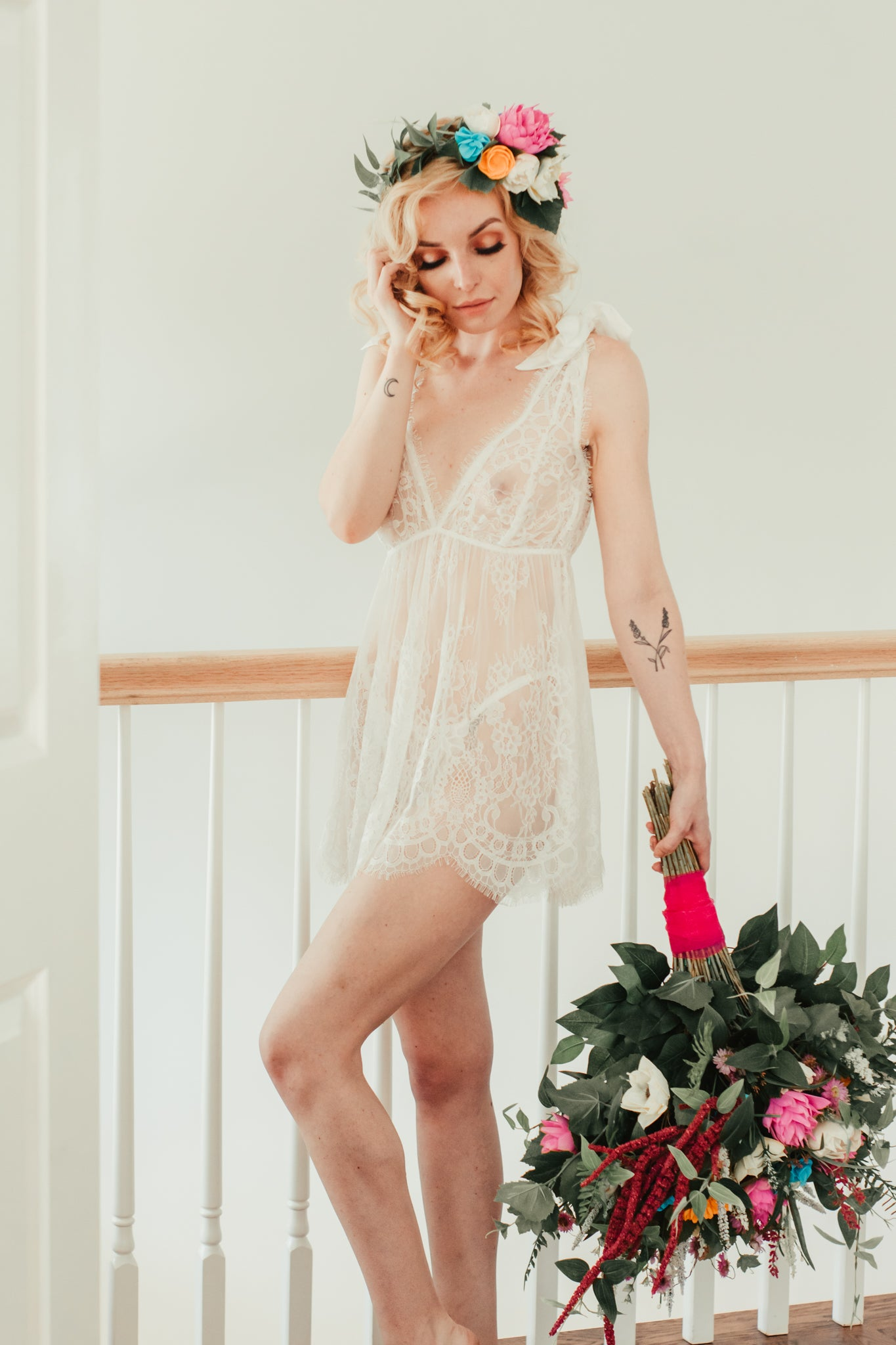 White lace babydoll dress with panty