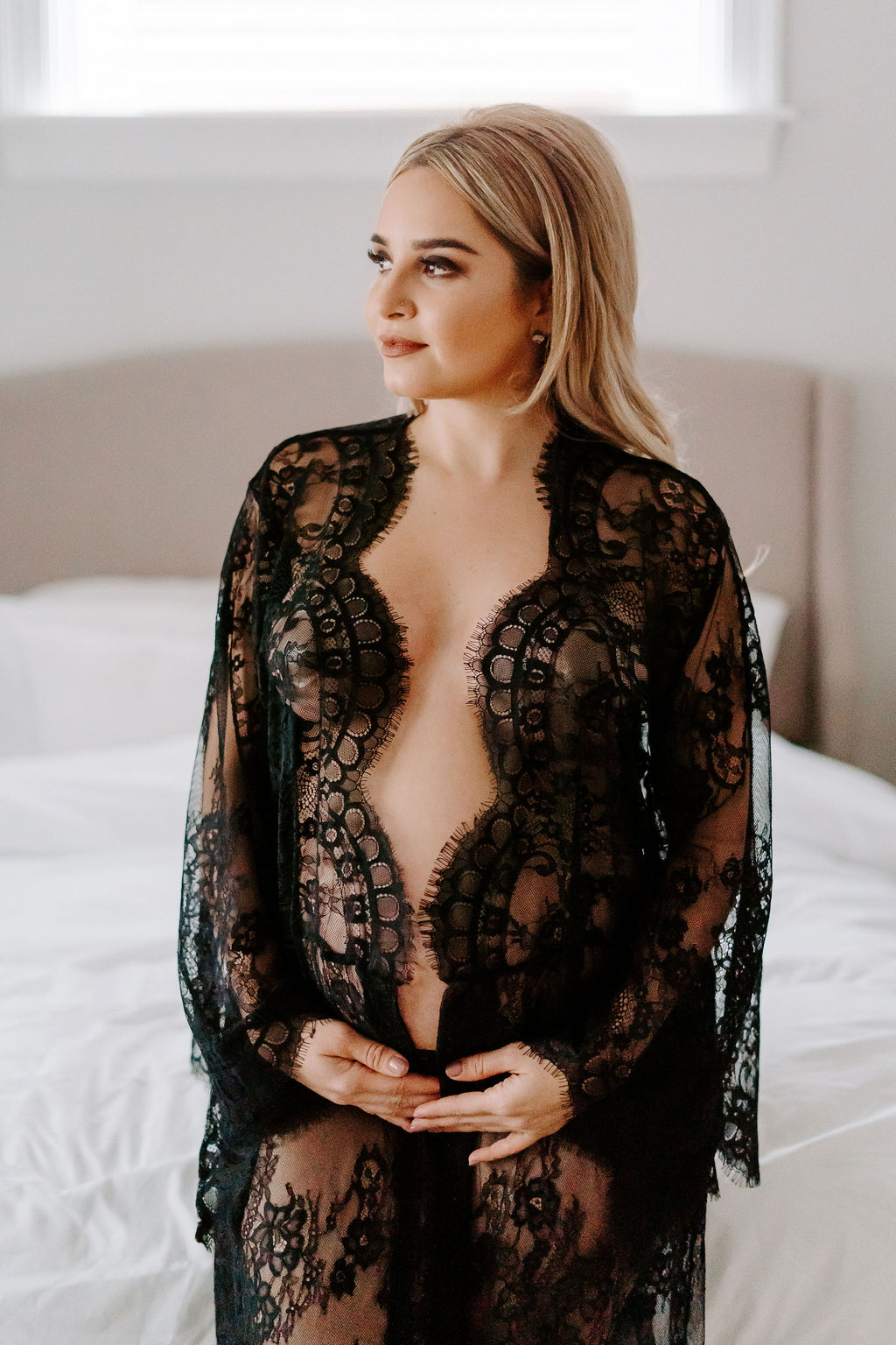 Black lace maxi kimono robe for pregnancy