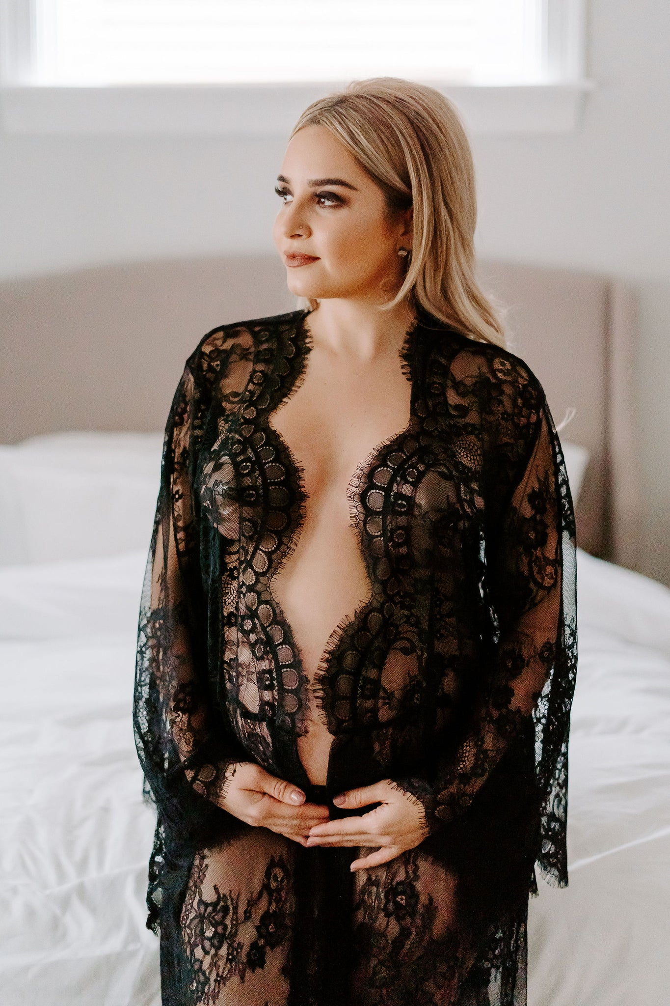 Pregnancy lingerie robe from black lace