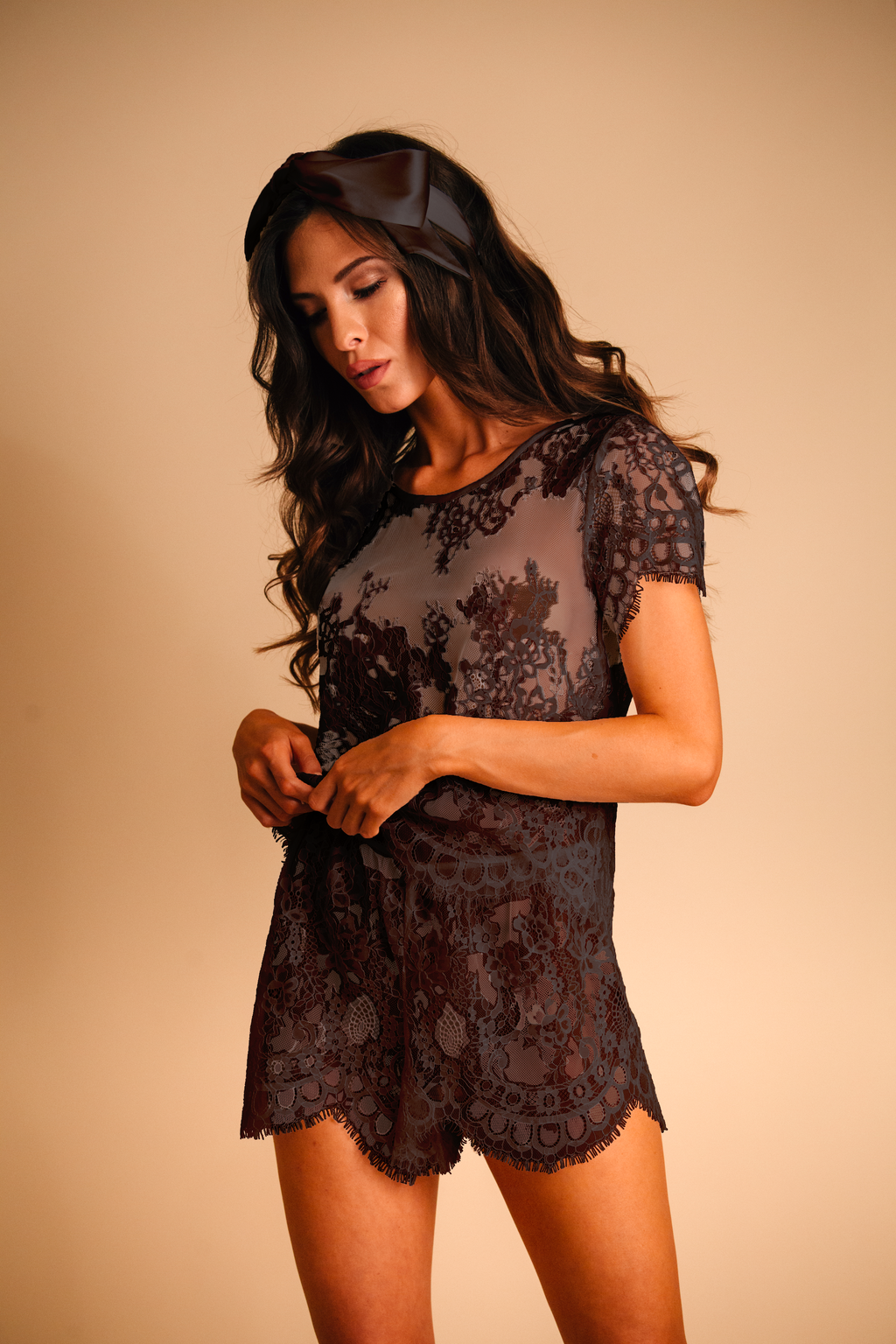 Black lace pajama set