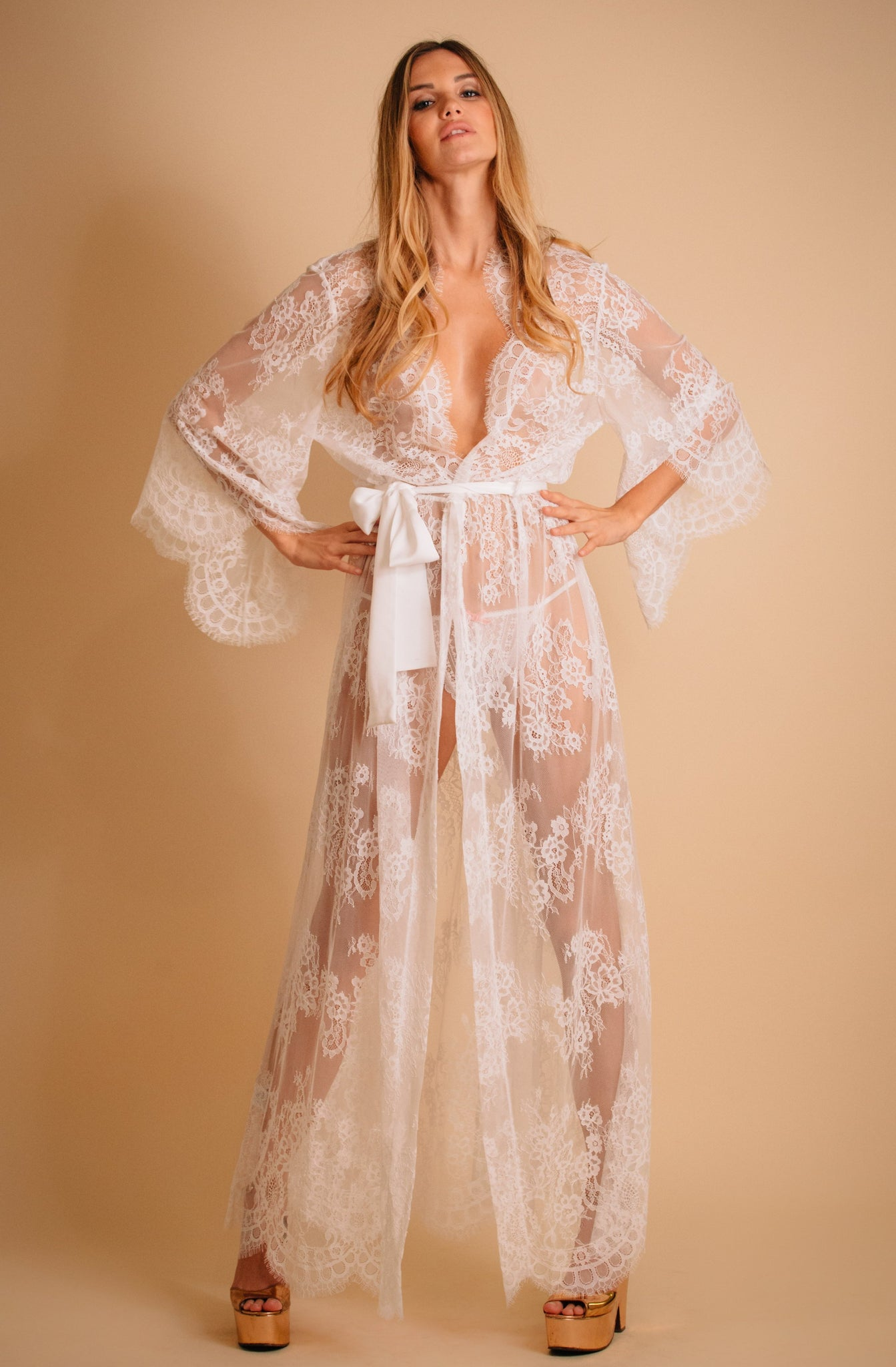 White sheer lace robe for bride