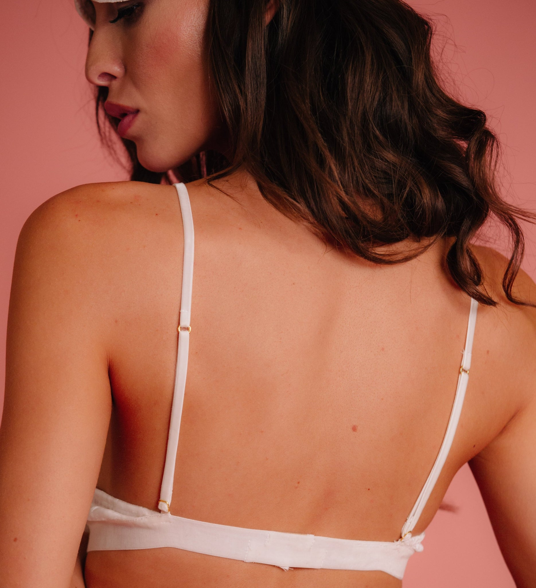 White velvet bralette for wedding night