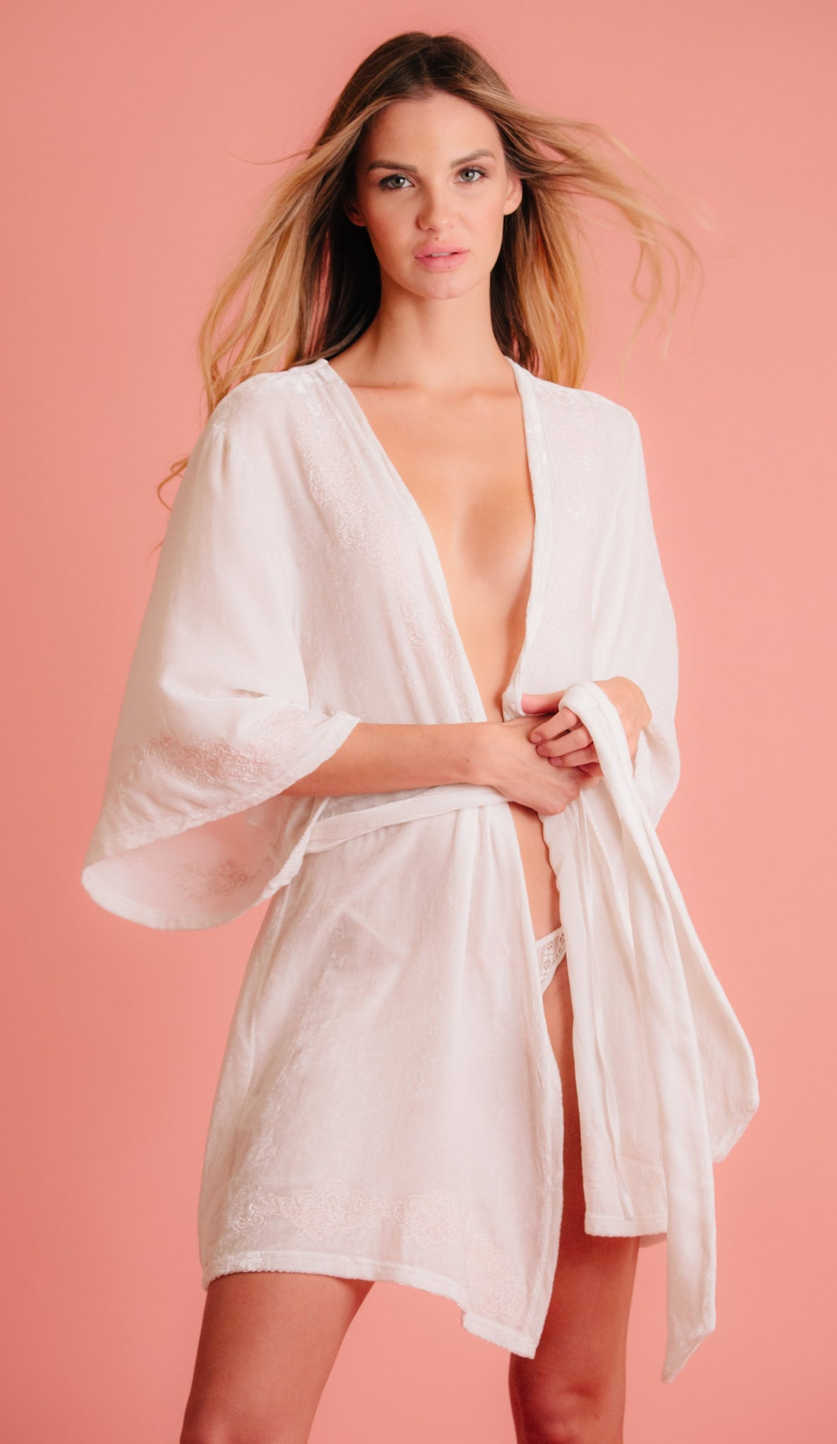 Bridal robe with pink embroidery