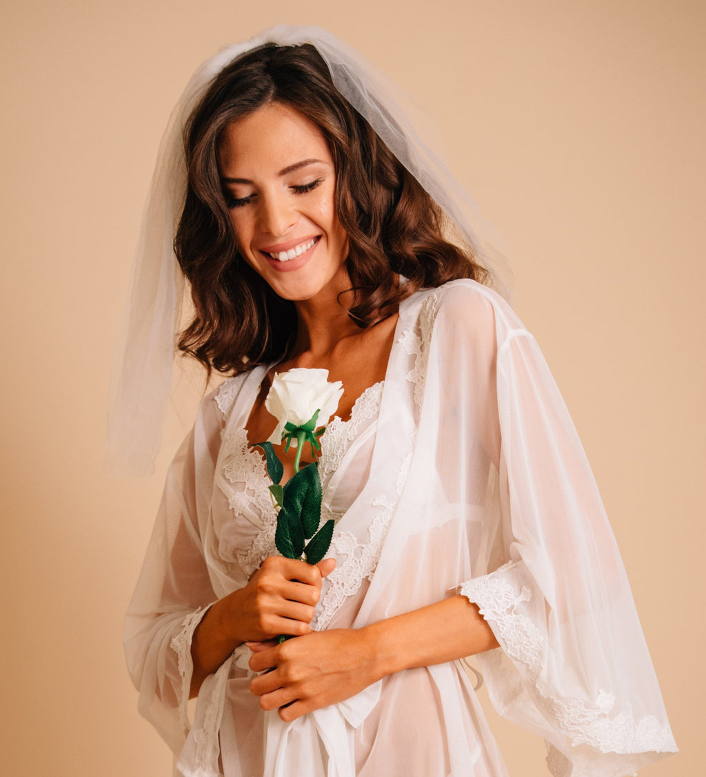 See through white robe for wedding