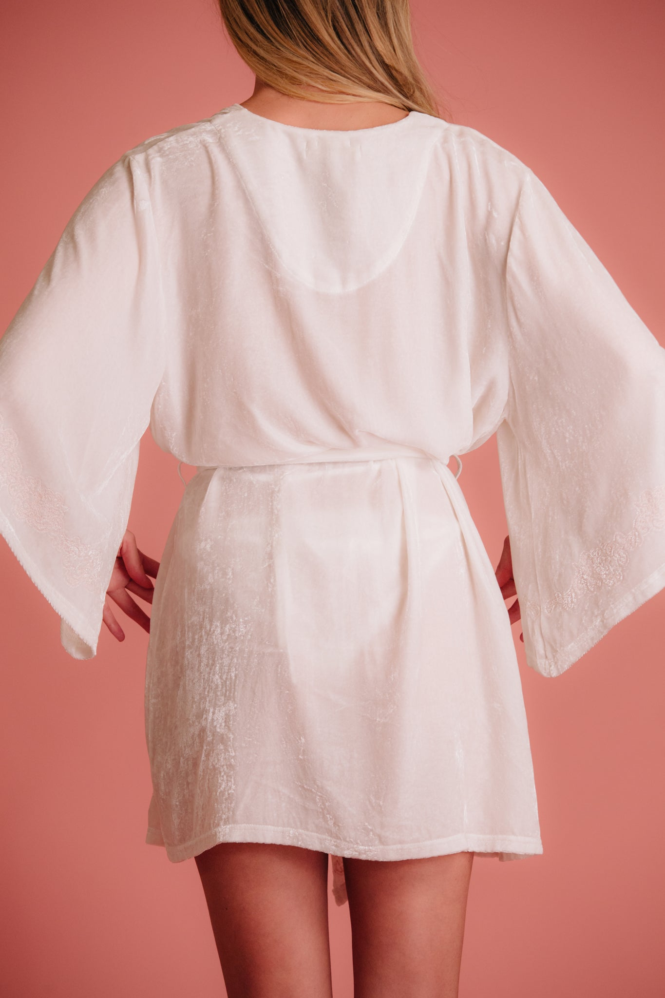 Wedding robe with pink paisley embroidery