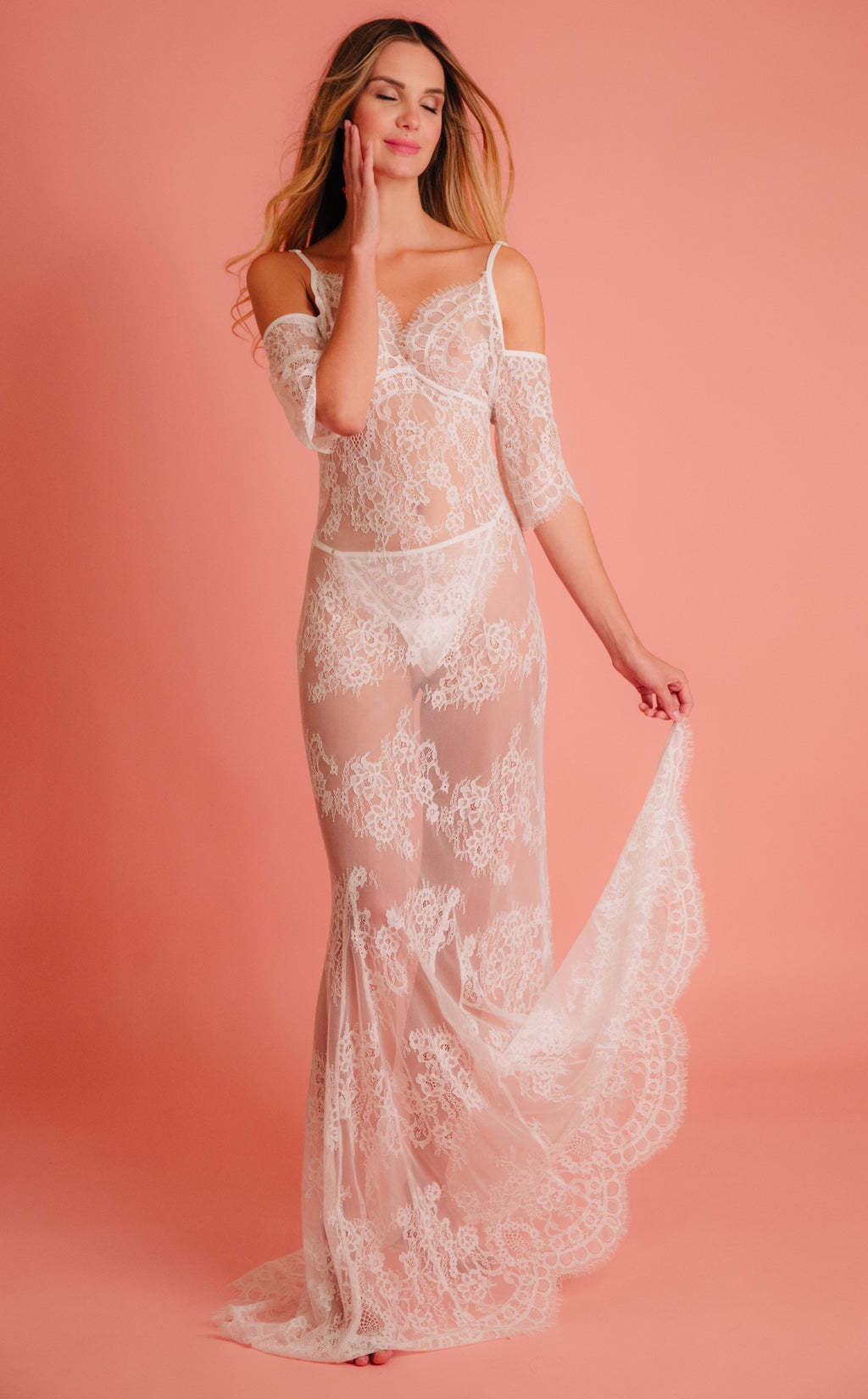 lace maxi babydoll dress for bride