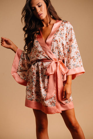 Made in USA floral satin robe