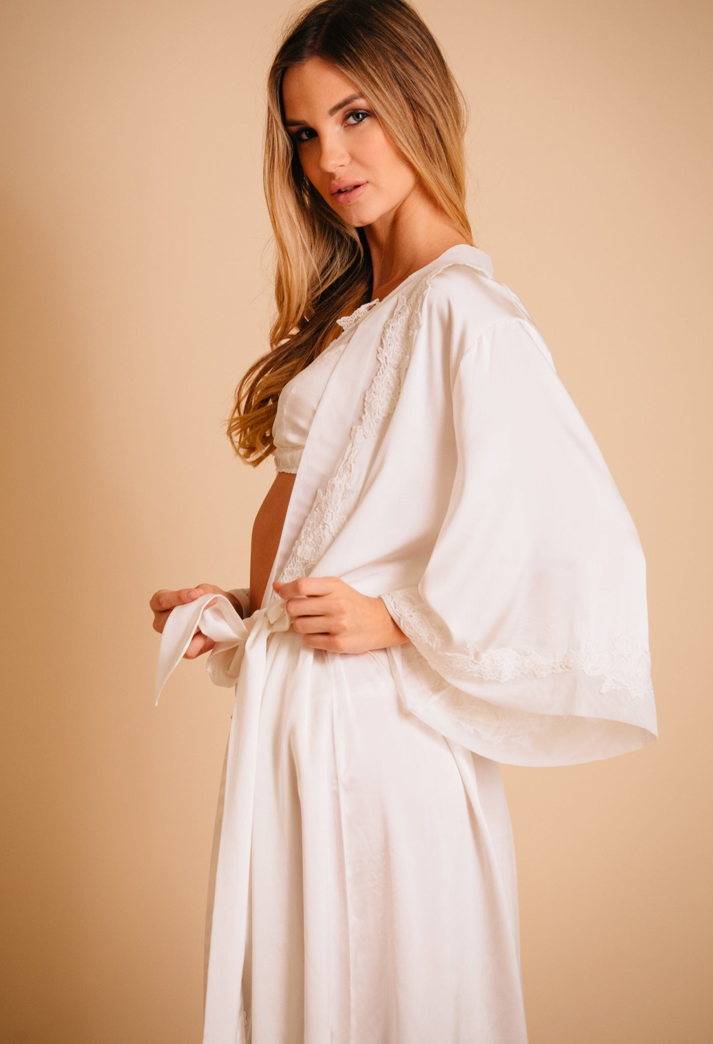 Lace trim silk wedding robe