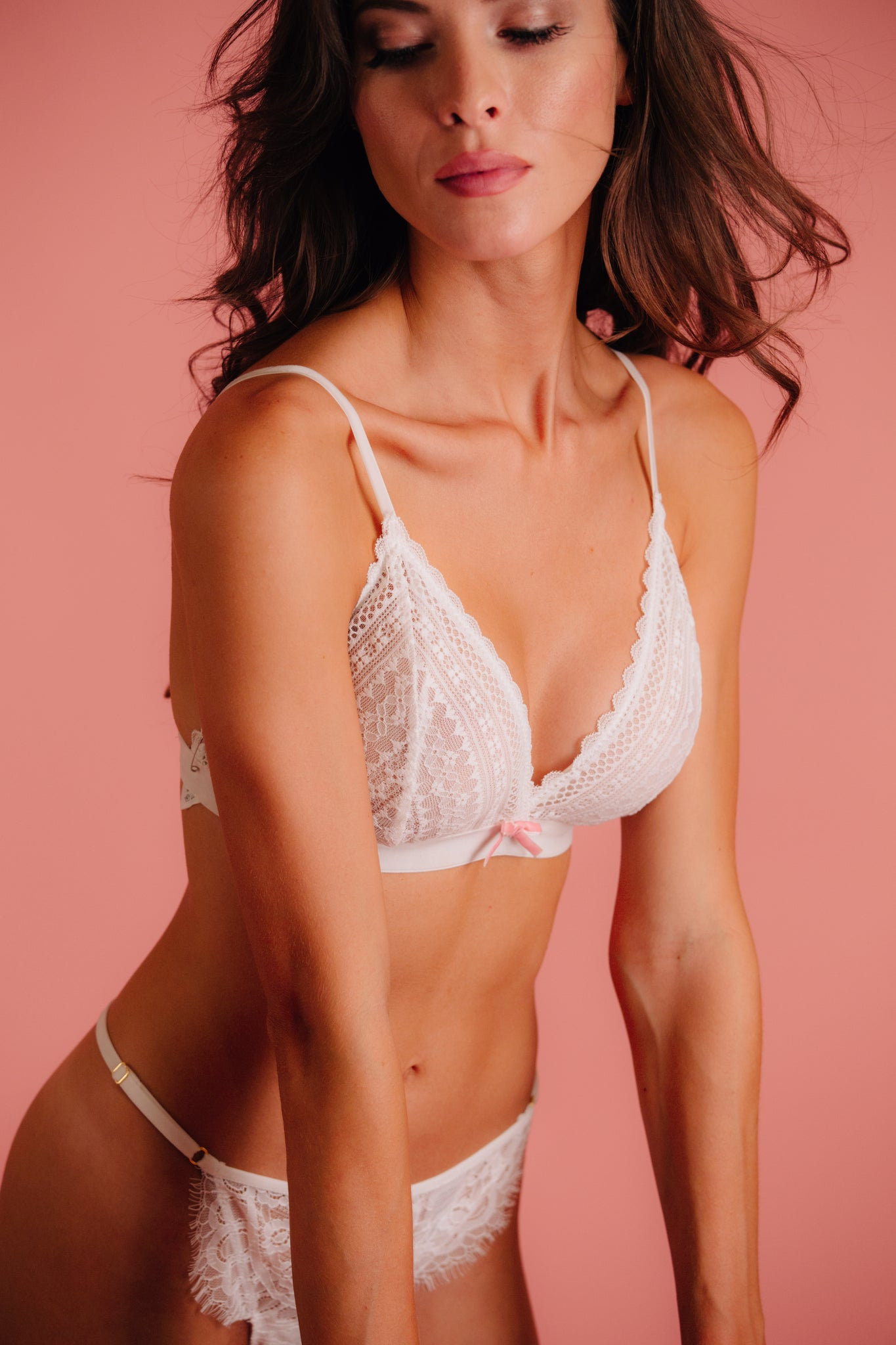 bridal lingerie lace triangle bralette with pink bow