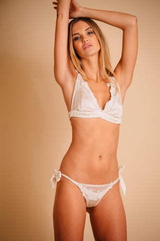 Silk white lingerie set for bride