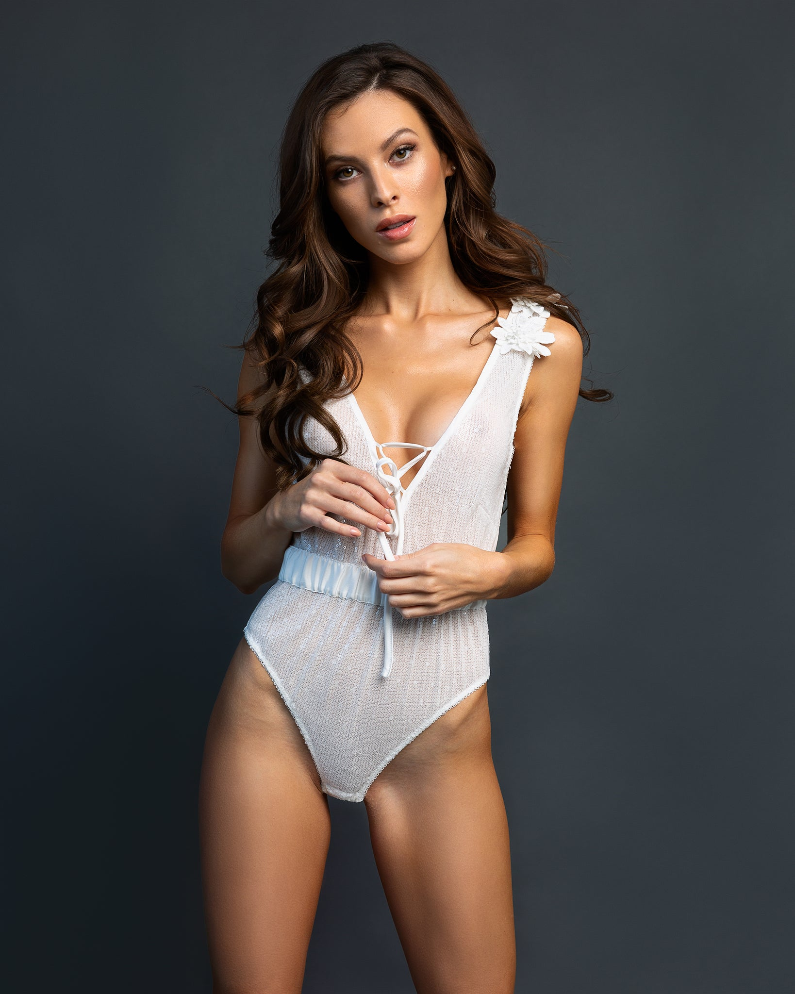 Unlined Plunge Sequin Bodysuit