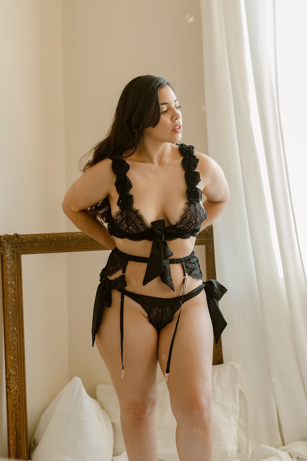 Black lace lingerie 3 piece set