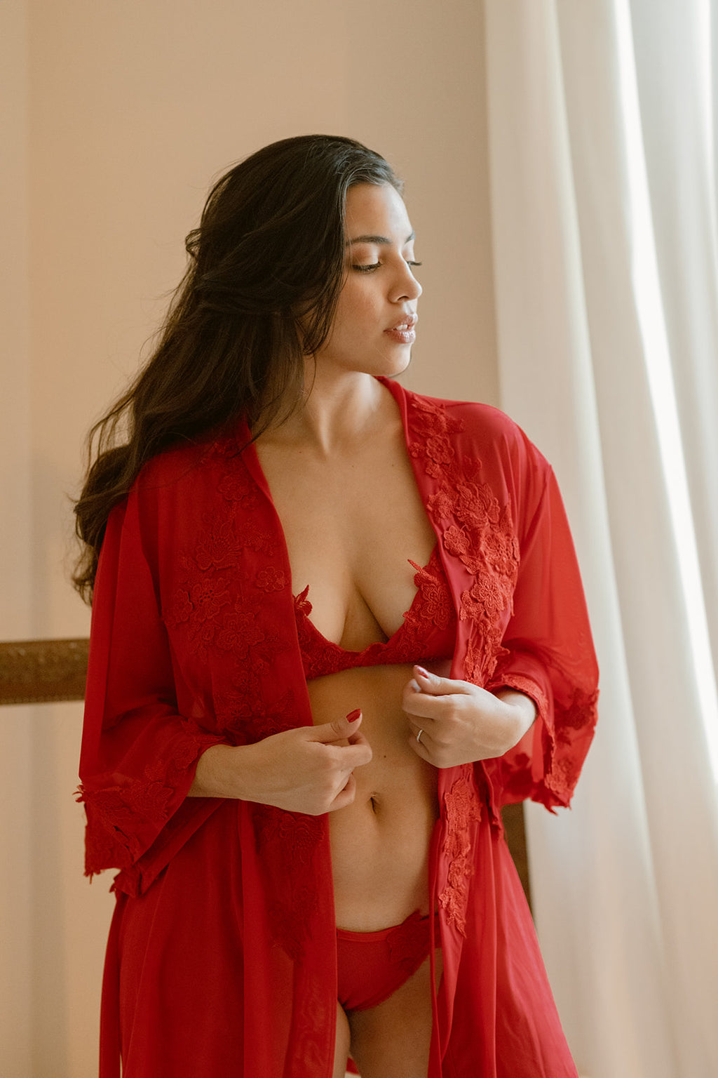Sheer Embroidered Lace Robe
