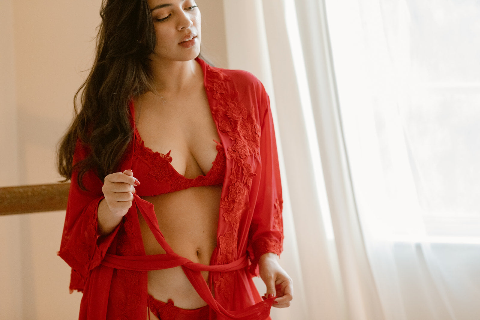 sheer red lingerie set