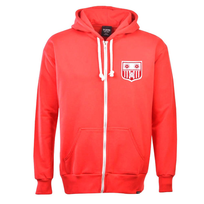 Southampton 1960's Style Zipped Hoodie - Red