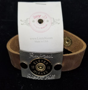 Lizzy Js Vintage Leather Bracelet With Bullet Buckle