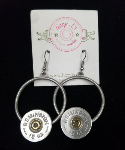 Lizzy Js Vintage Gray 12 Gauge Bullet Shell Circle Earrings
