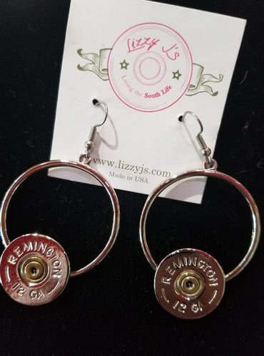 Lizzy Js Vintage Silver Plated 12 Gauge Bullet Shell Circle Earrings