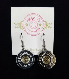 Lizzy Js Vintage Silver Plated 12 Gauge Bullet Shell Dangle Earrings