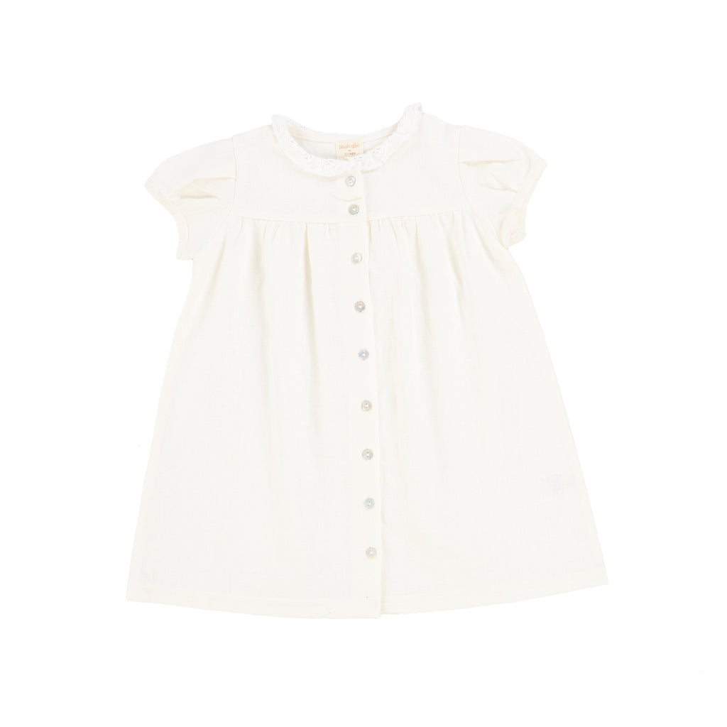 Linen Collar Short Sleeve Dress