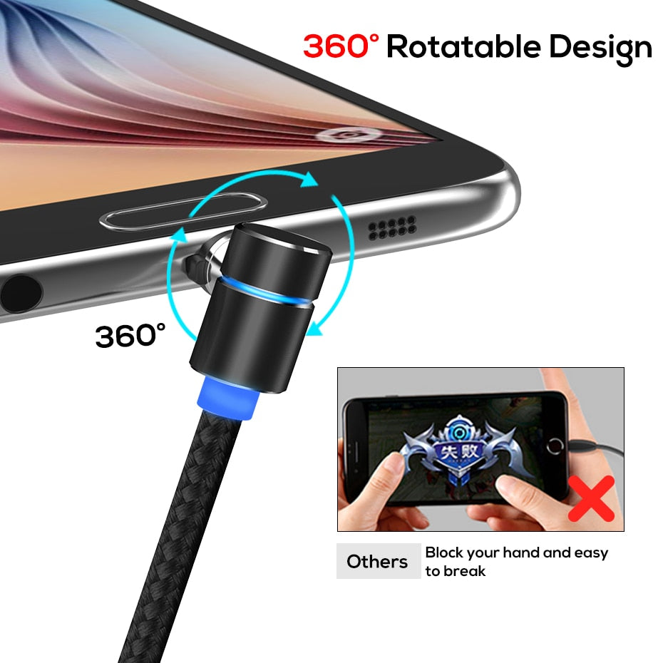 L Shaped Magnetic Charging Cable, Type C & Micro USB, Samsung, Iphone