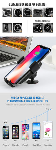 Car Mount Qi Wireless Charger For iPhone Samsung Note 9 S9 S8, Plug Type - EU