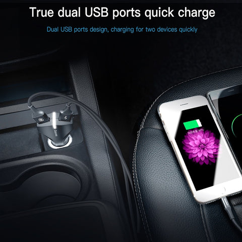 Baseus Quick Charge 3.0 Dual USB 5V3A Turbo Fast Car Adapter Mobile Phone Charger