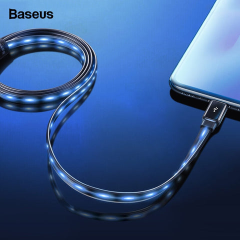 Baseus Flat Flowing  Glow LED  2.4A Fast Charging USB Data Cable For iPhones