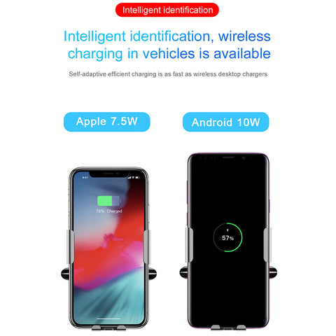Baseus Qi Car Wireless Charger For iPhone Xs Max XR X Samsung -Car Phone Holder