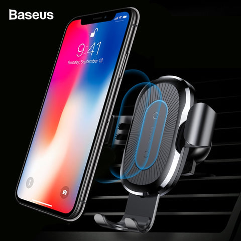 Image of Baseus Car Mount Qi Wireless Charger For iPhone Samsung & More