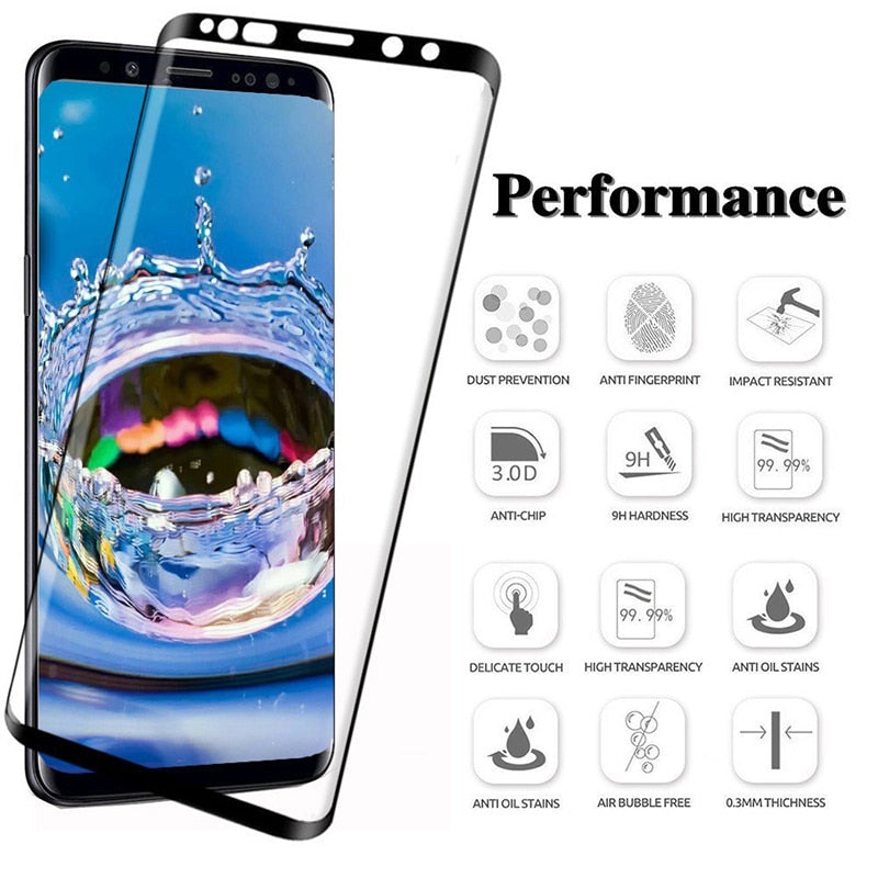 6D Full Curved Tempered Glass For Samsung Galaxy S8 S9 Plus 3D S7 Edge Note 8 A6 A8 Plus Cover case