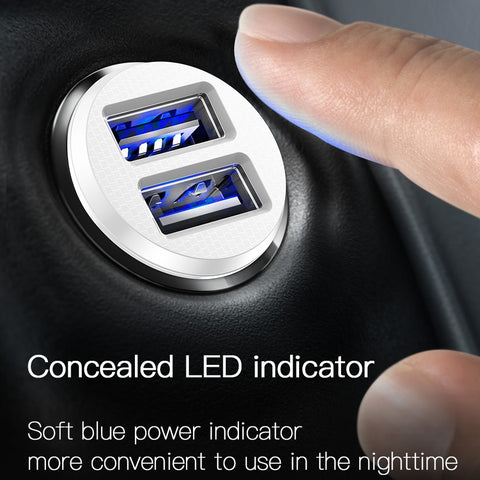 Mini USB Car Charger For 3.1A Fast Charge Dual USB
