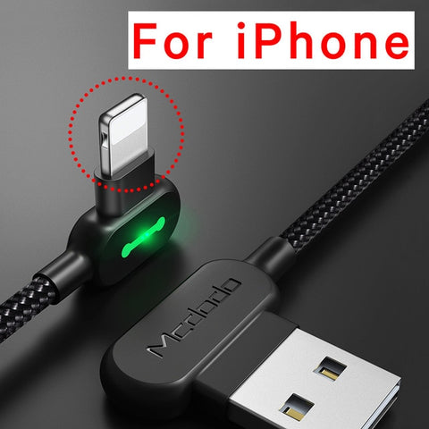 MCDODO 90 Degree  Charging & Data Cable For iPhone X XS MAX XR 8 7 6 5 6s S plus