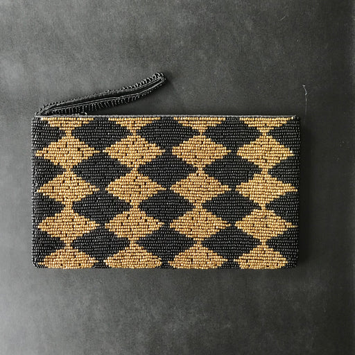 DIAMOND PATTERN GOLD BEAD WALLET