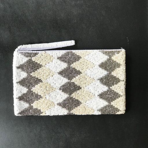 DIAMOND PATTERN SILVER BEAD WALLET