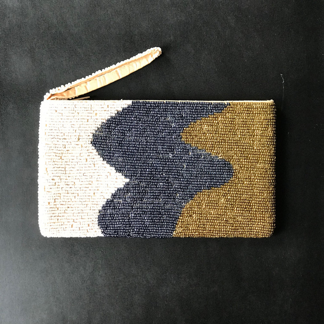 WAVES METALLIC BEAD WALLET