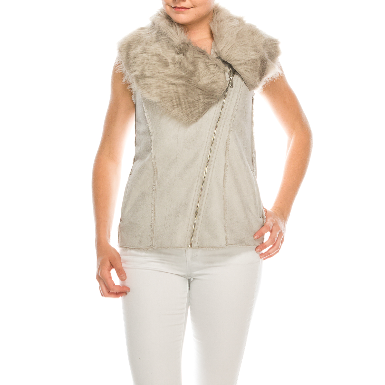 Fany-Urban Diction Grey Faux Fur Neck Vest (S-XL)
