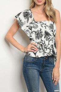 Shoni- One Shoulder Slimming Embroidered Top