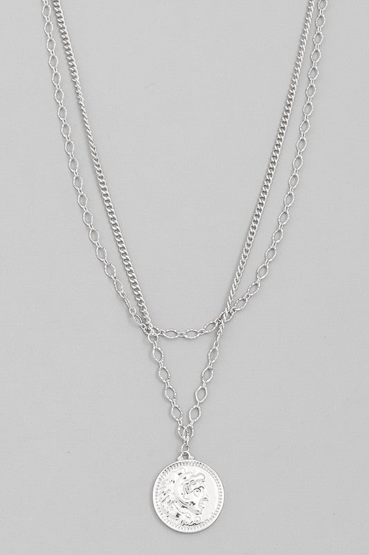 Medi- Double Chain Medallion Necklace