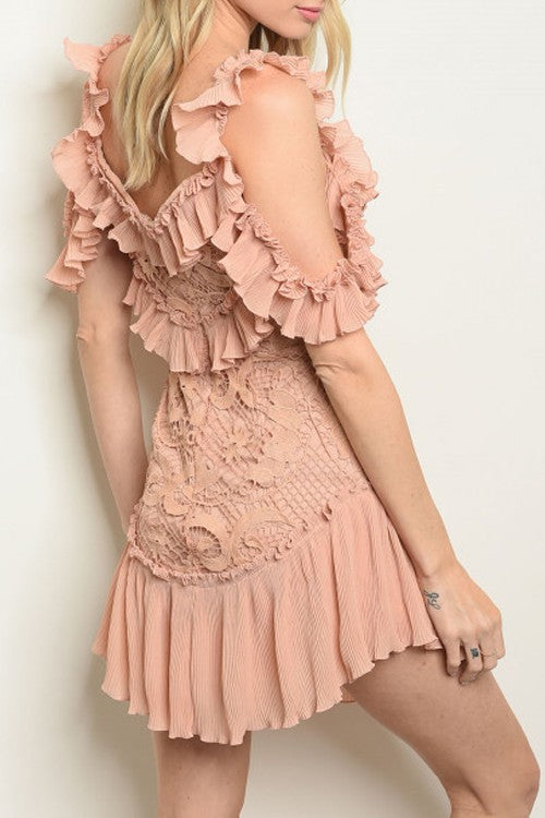Swifty- Pleated Chiffon and Lace Dress