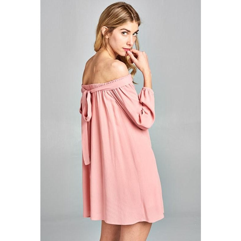 Rosey-Mini Off the Shoulder Dress