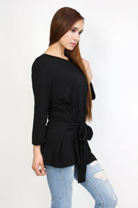 Shira-Ribbon Tie 3/4 Sleeve Top Black