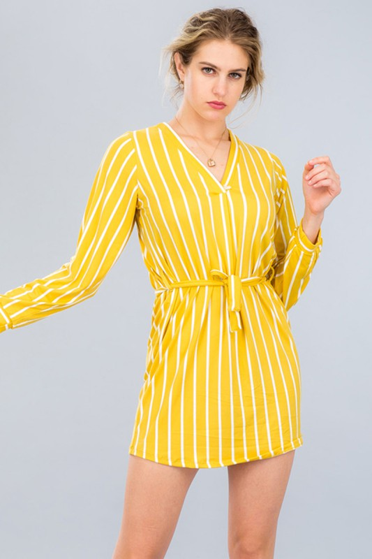 Sami- Super Soft Pull Over Belted Striped Dress
