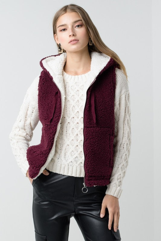 Gail- Wine Colored Sherpa Vest