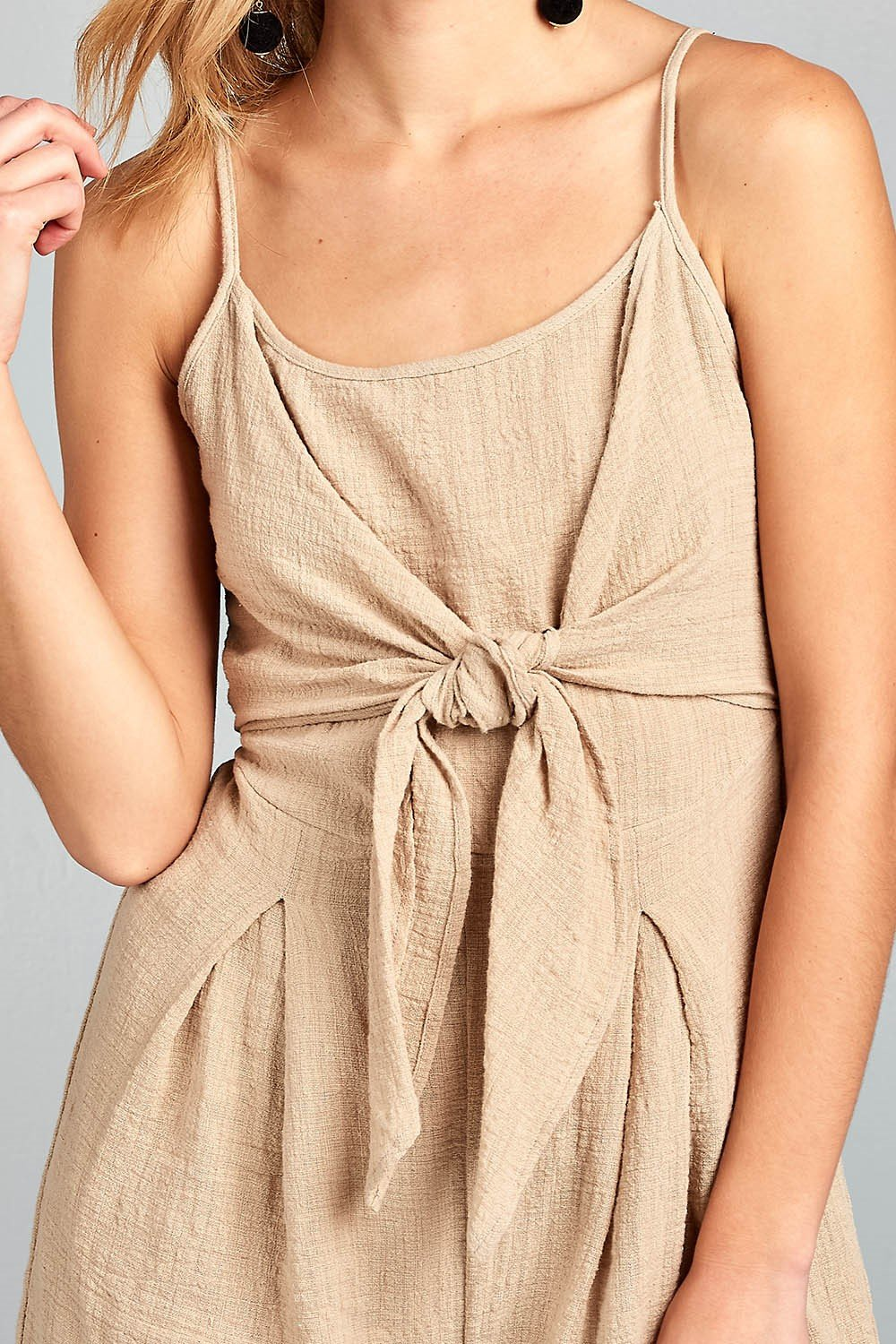 Elowen- 100% Cotton Romper w/Front Tie and Open Back