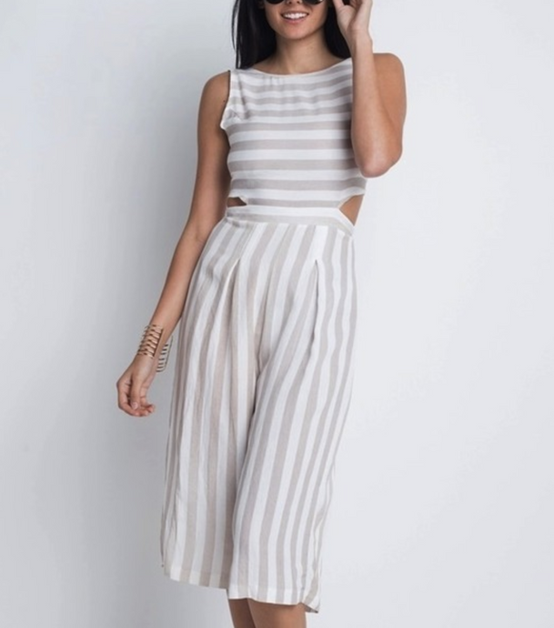 Ariel-Stripe Cut-Out Sleeveless Jumpsuit