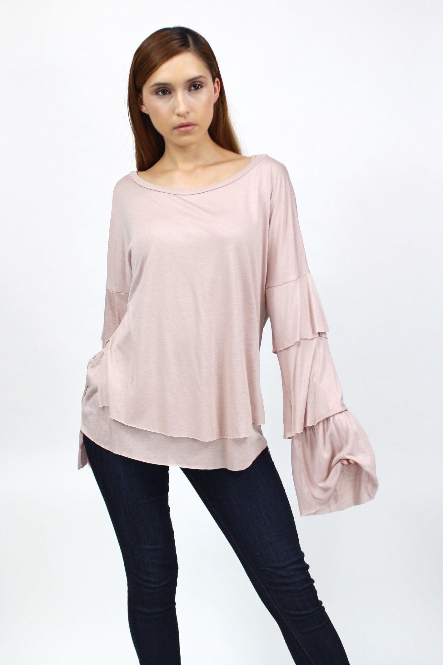Putty- Layered Bell Sleeve Top